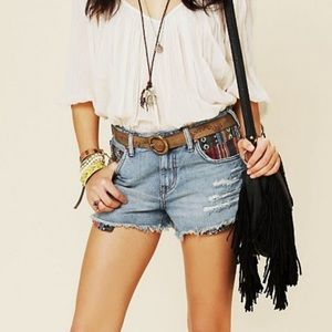 Free People Rugged Ripped Baja Denim Shorts 31